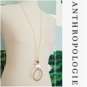 NWOT ANTHROPOLOGIE SNITA GOLD & WOOD NECKLACE